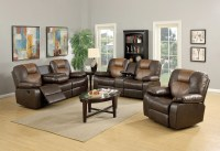Mac's Furniture | Two Tone Reclining Leather Sofa and Loveseat