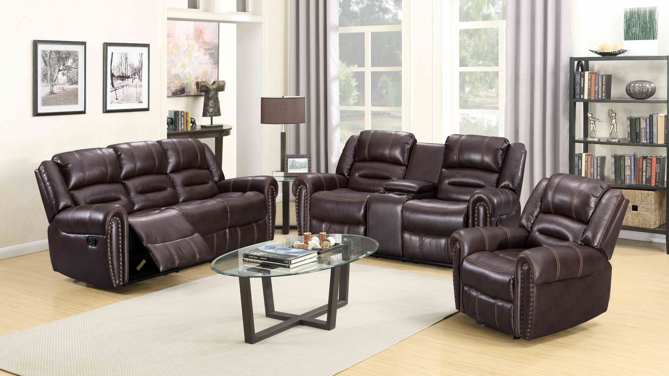 nora brown leather reclining 3 pc living room sofa set sectional sofas toronto stores lexington loveseat and