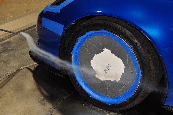 Smoke wand over nose with wheel cover