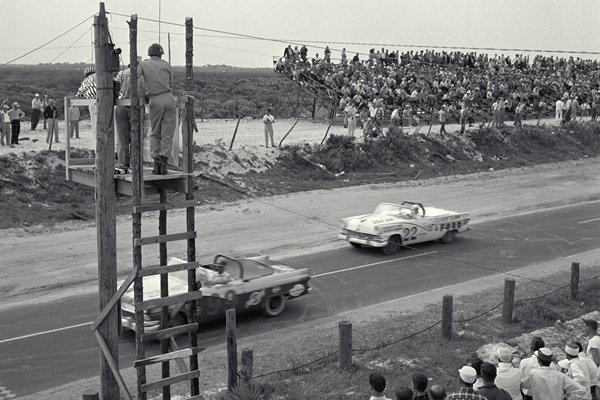 NASCAR Grand National Convertible Championship Race, Daytona, FL, 1956.1956 Ford Convertible (#26), Driver Curtis Turner, winning the 160 mile race with an average speed of 96.11 mph.CD#1098-3282-4909-4