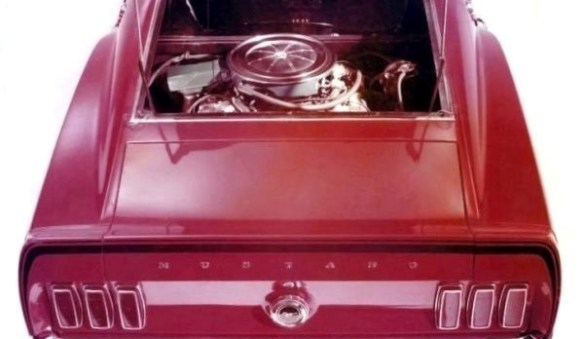 1969 Mustang Mach I rear window view