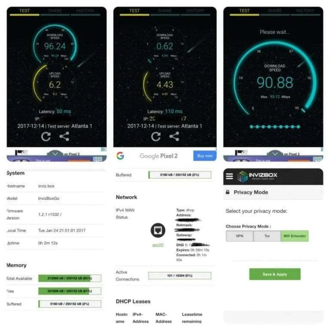 Invizibox speed test