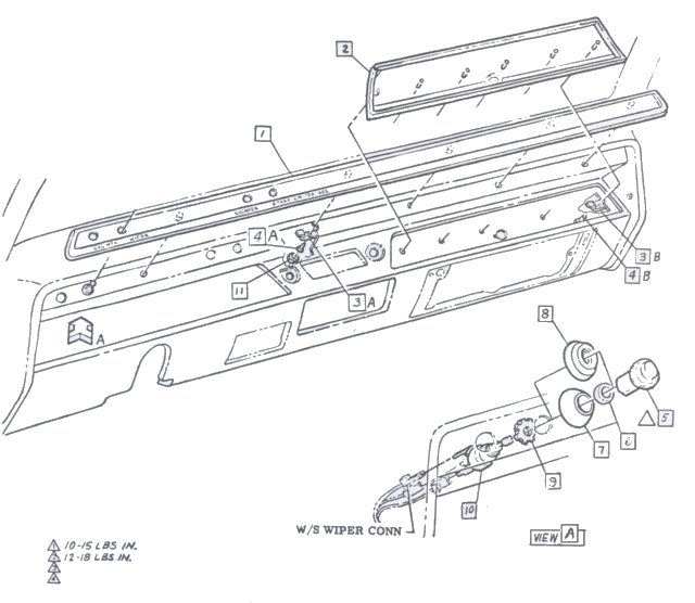 chevelle wiring diagram vw golf mk4 instrument panel 1967 reference cd assembly of dash trim and w s wiper knob