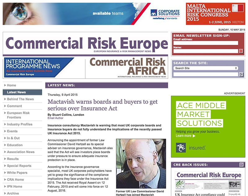 Commercial Risk Europe reports on Mactavish warning to boards and buyers to get serious over Insurance Act