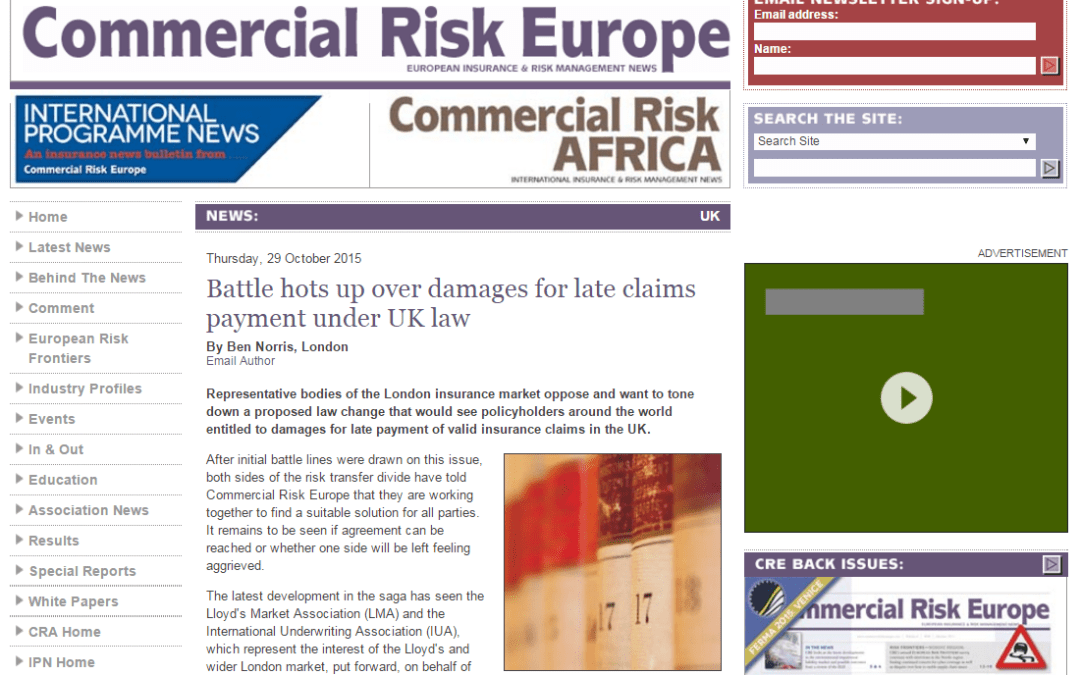Commercial Risk Europe – Battle hots up over damages for late claims payment under UK law
