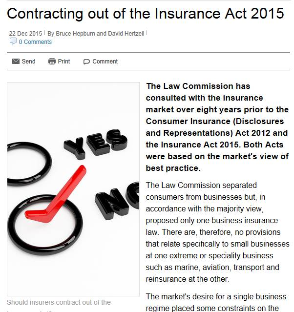 Contracting out of the Insurance Act 2015