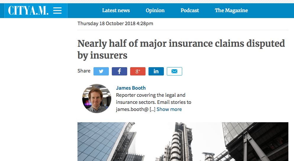 CityAM – Nearly half of major insurance claims disputed by insurers