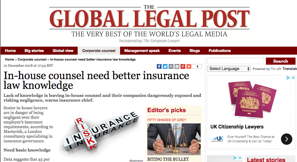 In-house counsel need better insurance law knowledge.