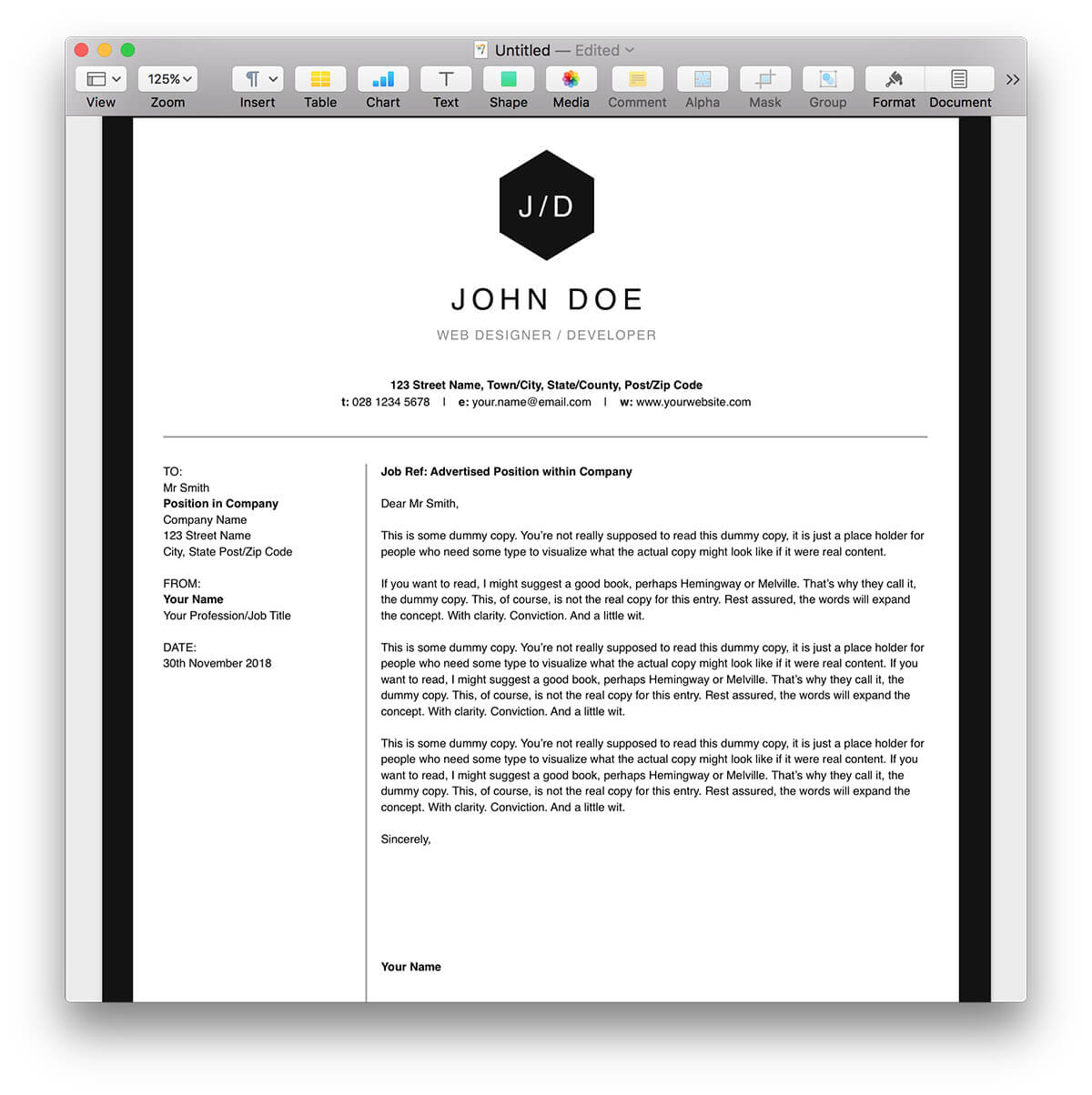 Pages Templates Resume Clean Bw Resume Template