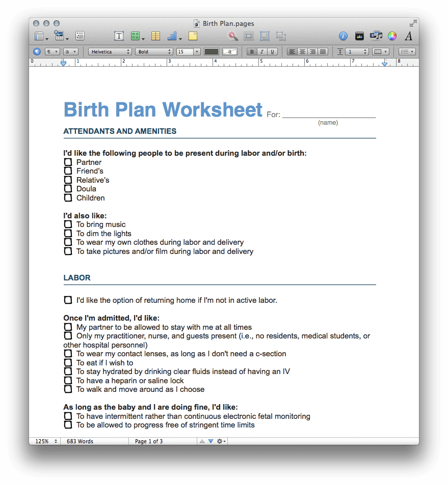 Birth Plan Template (PDF and Pages)