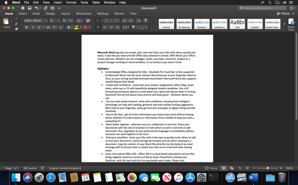 Microsoft Word 2019 1629 VL Screenshot 02 1a1119xn