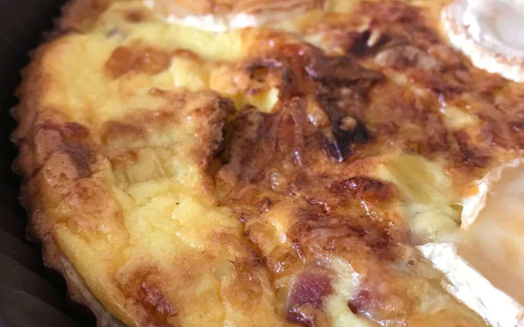 Tarte poireaux lardons et chèvre sans gluten (pâte Biobleud)