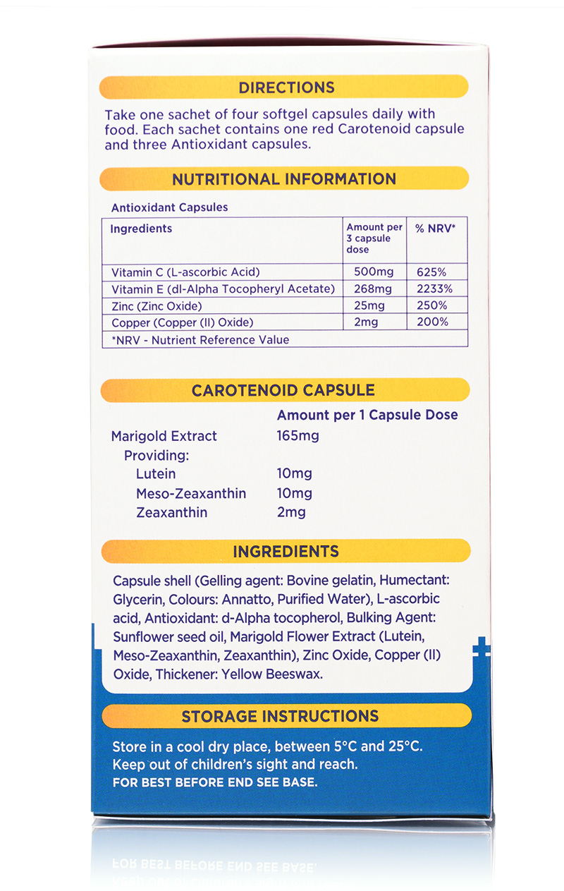 Macuprime Plus right side view showing Directions, Nutritional Information, Carotenoid Content, Ingredients and Storage Instructions