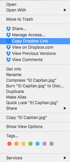 Finder contextual menu giving Dropbox file-sharing options