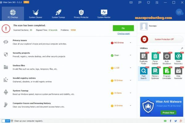 Wise Care 365 Pro 5.3.2 + Key Free Download for Windows