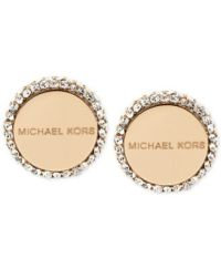 Michael Kors Logo Disc Stud Earrings