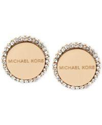 Michael Kors Logo Disc Stud Earrings