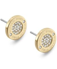 Michael Kors Crystal Pave Logo Stud Earrings