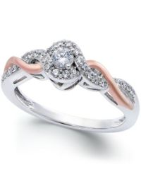 Diamond Twist Promise Ring in Sterling Silver and 14k Rose ...