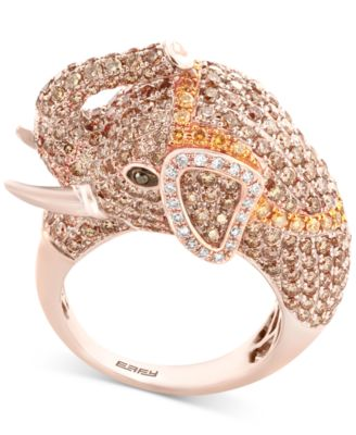 EFFY Diamond Elephant Ring 3 12 Ct Tw In 14k Rose