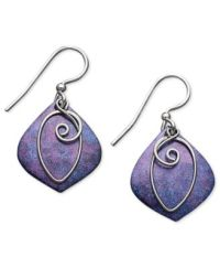 Jody Coyote Patina Bronze Earrings, Purple Drop Earrings ...