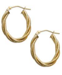 14k Gold Earrings, Textured Oval Braided Hoop Earrings ...