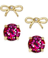 kate spade new york Gold-Tone Glitter and Bow Stud Earring ...