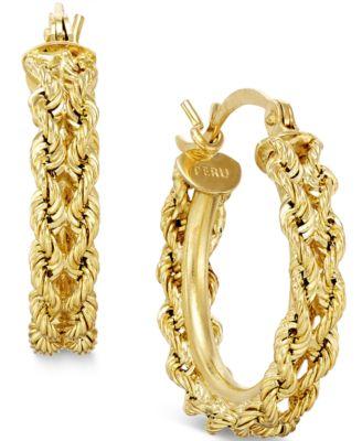 Heart Rope Chain Hoop Earrings In 14k Gold Earrings