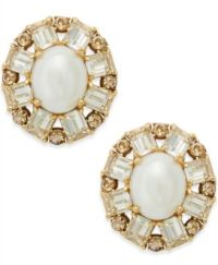 kate spade new york Gold-Tone Imitation Pearl Crystal Stud ...