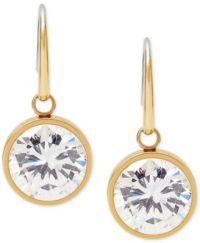 Michael Kors Bezel-Set Round Crystal Drop Earrings ...