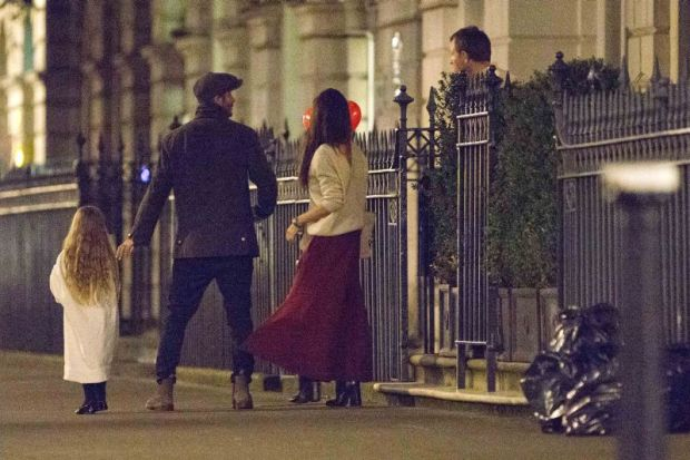 EXCLUSIVE: ***NO WEB UNTIL 8pm GMT February 7th 2016*** David and Victoria Beckham take daughter Harper for a playdate around Guy Ritchie and Jacqui Ainsley's home in Central London. Harper arrived with her face painted while Victoria looked ever fashiona