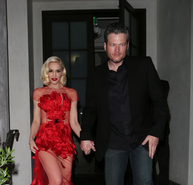 Gwen Stefani And Blake Shelton Leaves Spago's Restaurant After Attending A Private Party in Beverly HillsPictured: Gwen Stefani And Blake SheltonRef: SPL1237645  280216  Picture by: Photographer Group / Splash NewsSplas