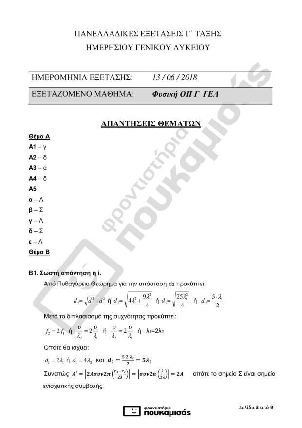 απαντήσεις της Φυσικής στις Πανελλήνιες