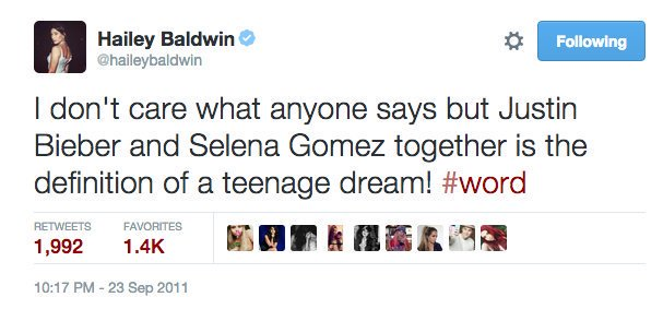 Hailey Baldwin για τον Justin και την Selena