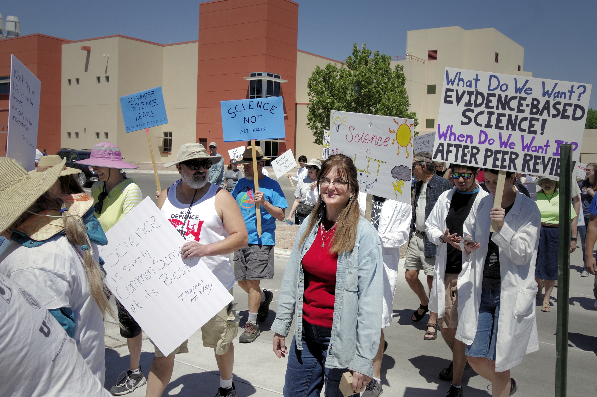 Mad Hildebrandt at the Science March in Socorro, New Mexico. The march originated on the New Mexico Tech campus and ended at the Socorro Plaza
