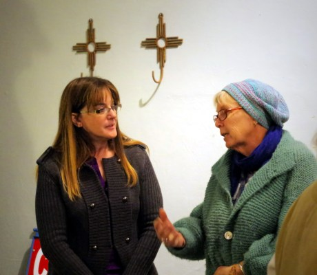 Mad Hildebrandt speaking with constituents in Magdalena, New Mexico