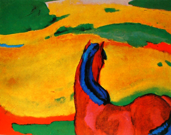 Horse in a landscape. Franz Marc