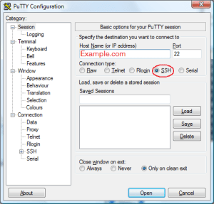 The Connection Settings Window for PuTTY on Windows