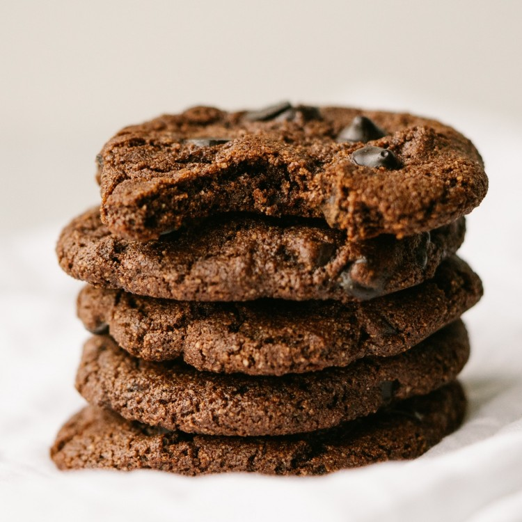 stack of chocolate chip mocha cookies