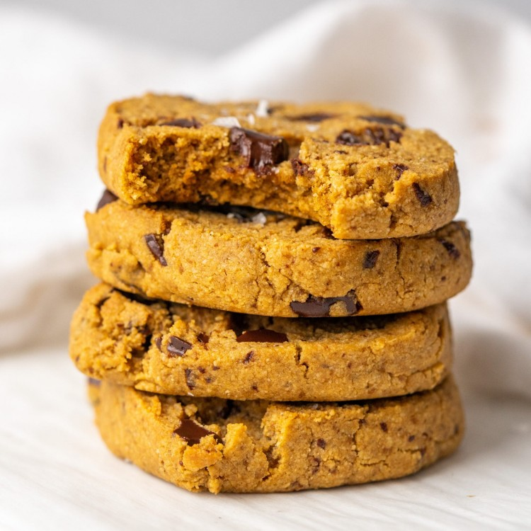 Side view of a stack of paleo slice and bake cookies