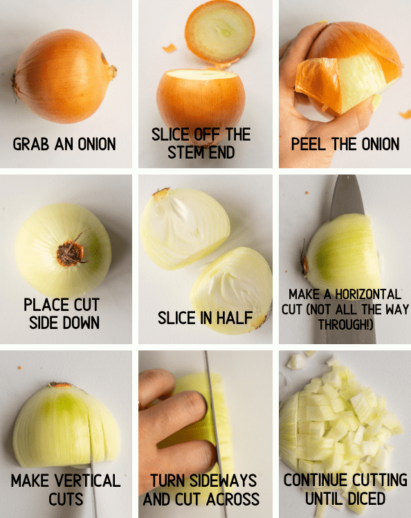 Image that teaches how to dice an onion step by step