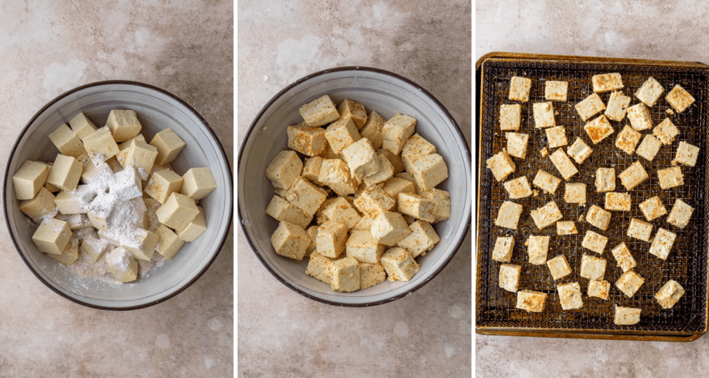 Step by step instructions for tofu in the air fryer