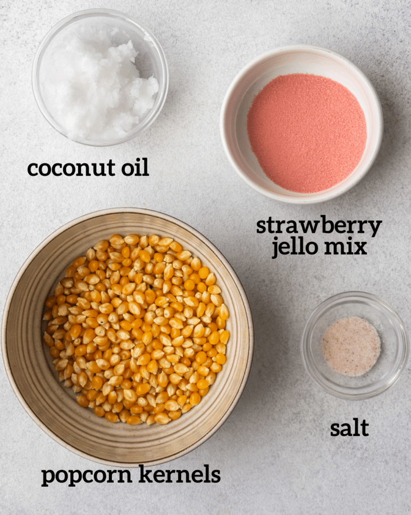 above view of ingredients for sweet and salty strawberry popcorn