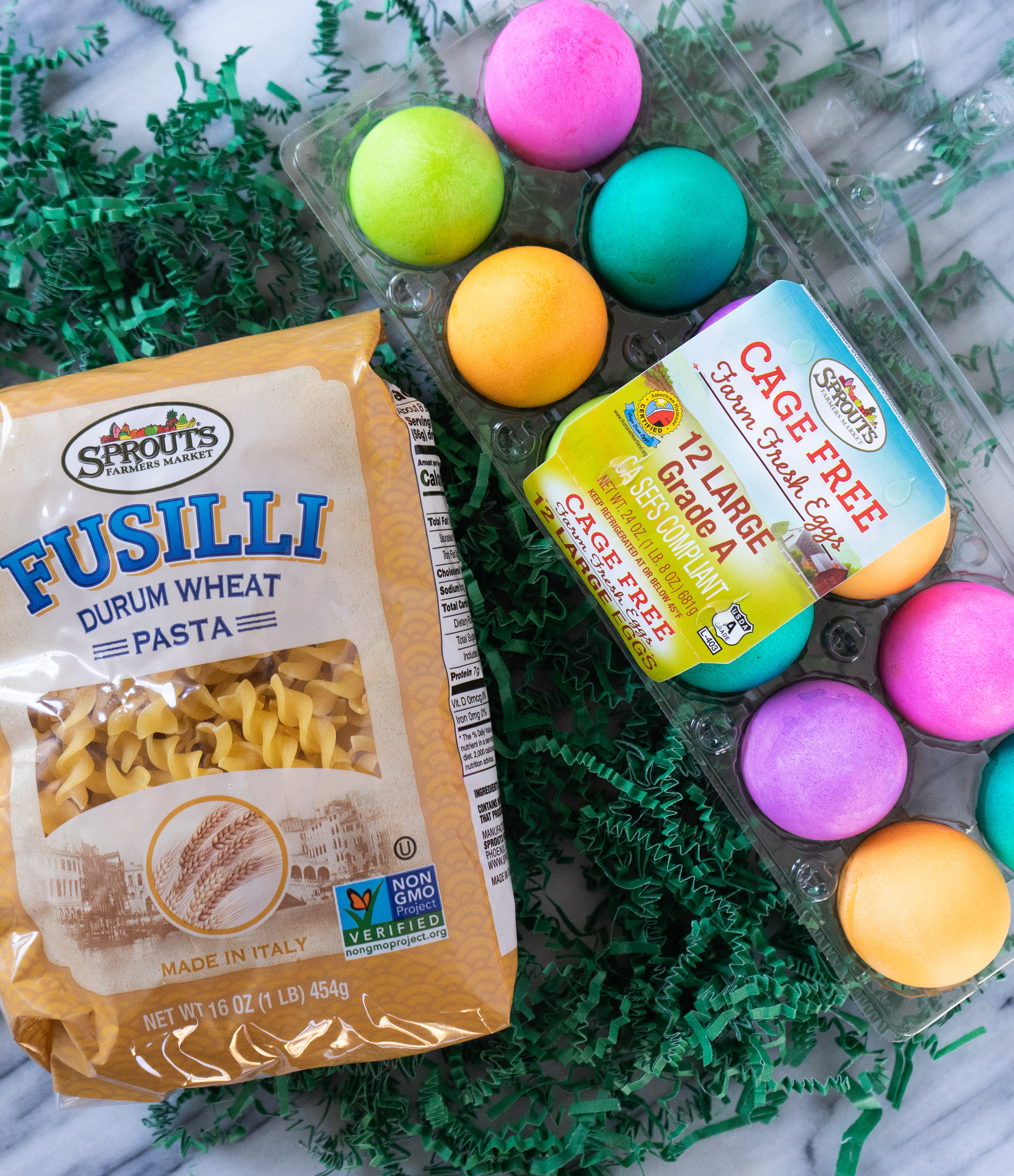 Above view of pasta and colorful dyed Eggs