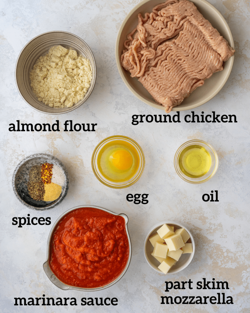 Above view of ingredients for mozzarella stuffed chicken meatballs