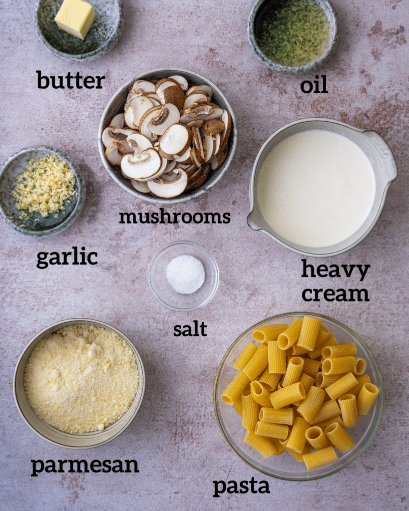 Above view of ingredients for mushroom alfredo pasta recipe