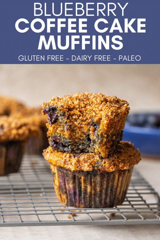 Image  for pinning Blueberry Coffee Cake Muffins recipe on Pinterest