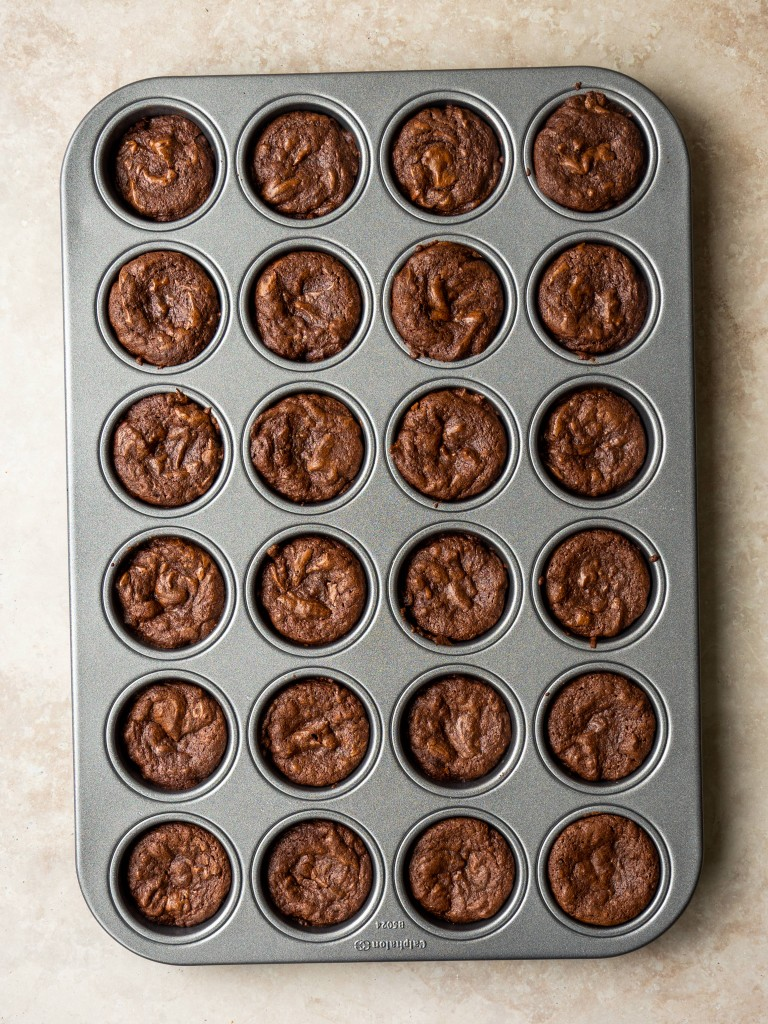 Above view of fudgy brownie bites in a baking dish