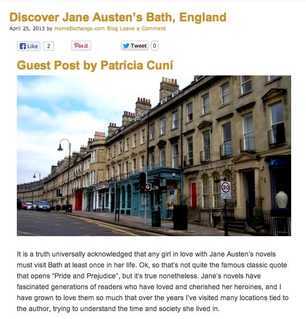 Jane Austen's Bath guest post on Home Exchange's international blog