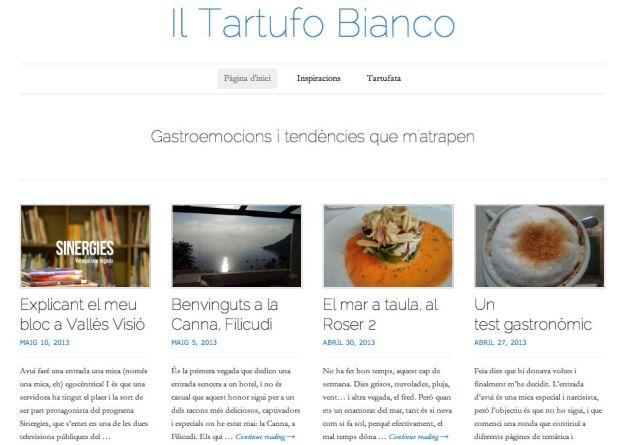 Captura de pantalla del blog Il Tartufo Bianco